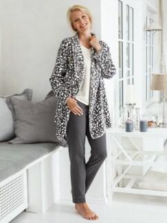 Kuschel-Loungewear Jacke Grau/Weiß Detail 2
