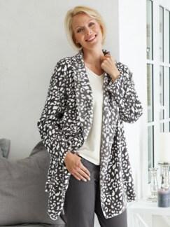 Kuschel-Loungewear Jacke Grau/Weiß Detail 1