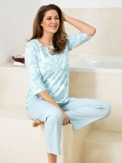 Schlafanzug Blütenornament Bleu/Weiß Detail 1