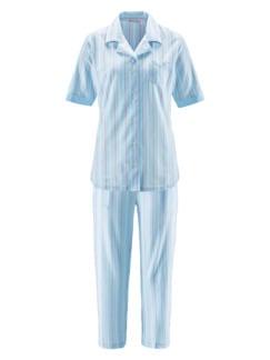 Klimasoft-Schlafanzug Pastellstr. Hellblau Detail 2