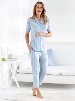 Klimasoft-Schlafanzug Pastellstr. Hellblau Detail 1