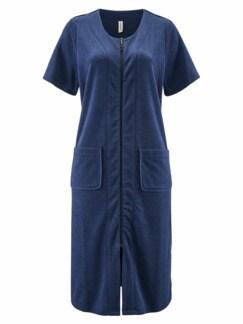 Frottee-Hauskleid Maritim Blau Detail 2