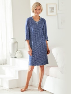Soft-Nachthemd Baumwolle Indigoblau/Weiß Detail 1