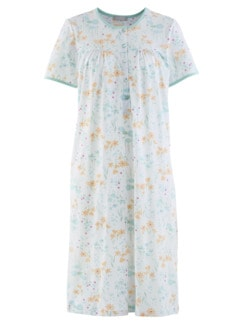 Baumwoll-Nachthemd Zarte Blüte Hellblau-Weiß Detail 2