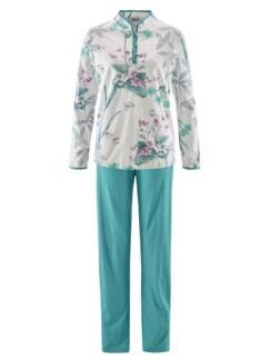 Soft-Baumwoll-Schlafanzug Hortensie Türkis Detail 2
