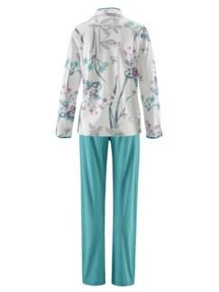 Soft-Baumwoll-Schlafanzug Hortensie Türkis Detail 3