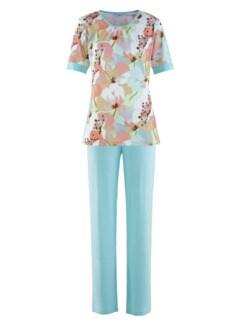 Schlafanzug Pastellblüte Hellblau gebl. Detail 3