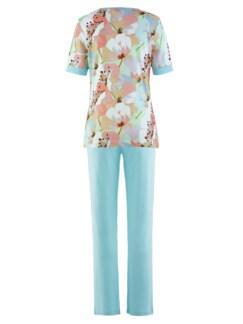 Schlafanzug Pastellblüte Hellblau gebl. Detail 4