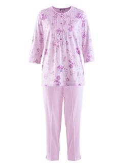 Baumwoll-Schlafanzug Blütendessin Rose geblümt Detail 2