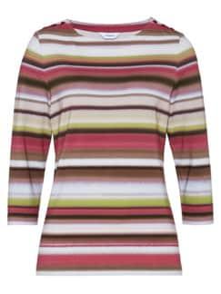 Soft-Shirt Aquarellstreifen Braun gestreift Detail 3