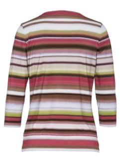 Soft-Shirt Aquarellstreifen Braun gestreift Detail 4