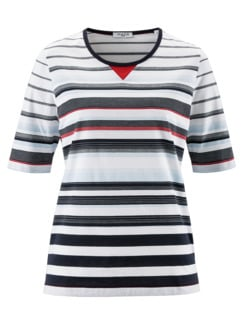 T-Shirt Maritim Weiß gestreift Detail 4