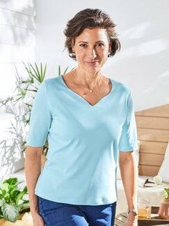Baumwoll-Shirt Herzausschnitt Hellblau Detail 2