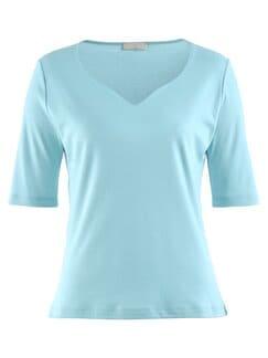 Baumwoll-Shirt Herzausschnitt Hellblau Detail 3