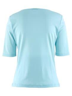 Baumwoll-Shirt Herzausschnitt Hellblau Detail 4