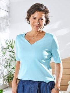 Baumwoll-Shirt Herzausschnitt Hellblau Detail 1