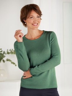 Kaschmir-Seide Premium Pullover Grün Detail 1