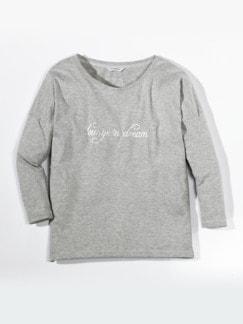 Loungewear-Langarm-Shirt Grau meliert Detail 2