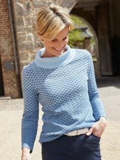 Rollkragen-Pullover Seidenbiene Blau Detail 1