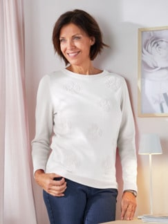 Pullover Blüten-Jacquard Seidenweiß Detail 2