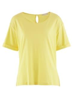 Seidenjersey-Shirt Sonnengelb Detail 3