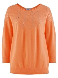 Leicht-Pullover Punktausschnitt Pfirsich Detail 3