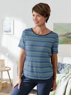 Freizeit-Shirt Streifen Blau Detail 2