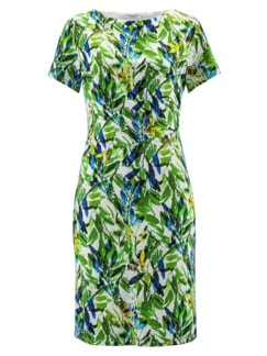 Freizeitkleid Tropical Grün gemustert Detail 2