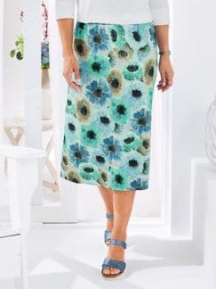 Rock Aquarell-Blumen Blau gemustert Detail 1