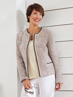 Boucle-Blazerjacke Beige/Multicolor Detail 1