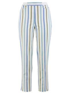 7/8-Bequem-Streifenhose Weiß-Blau Detail 3