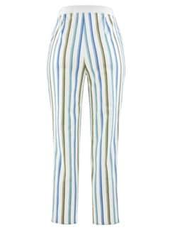 7/8-Bequem-Streifenhose Weiß-Blau Detail 4