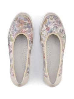 Komfort-Ballerina Softness Beige geblümt Detail 4