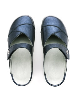 Bequem-Clogs Rückenfit Blau metallic Detail 3