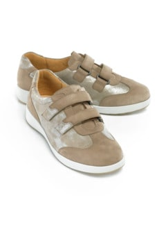 Ganter-Prophylaxe-Klettslipper Taupe/Gold Detail 1