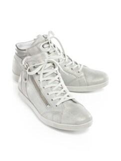 Reißverschluss-Sneaker Shiny high Silber Detail 1