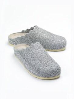 Wollfilz-Pantolette Memory-Fußbett Grau Detail 1