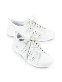Leder-Leicht-Sneaker Weiß Detail 1