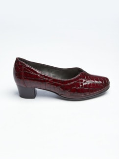 Softgel-Pumps Bordeaux Kroko Detail 2