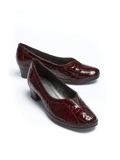 Softgel-Pumps Bordeaux Kroko Detail 1