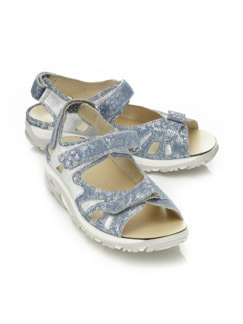 Waldläufer-Rollsohlen-Sandale Jeans/Silber Detail 1