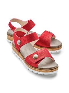 Klett-Sandale Softpolster Rot Detail 1