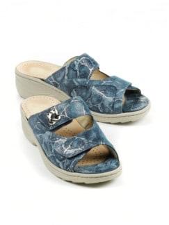Hallux-Klett-Pantolette Fantasia Jeansblau Detail 1