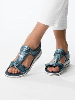 Green Comfort-Sandale Vario Blau bedruckt Detail 3