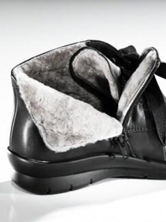Lammfell-Boots Extraweit Schwarz Detail 4