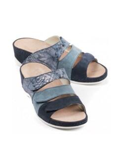 Klett-Pantolette Gelpolster Blau Detail 1