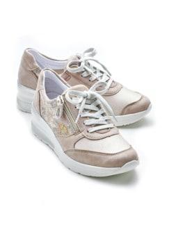 Hallux-Sneaker Hüftschwung Beige geblümt Detail 1