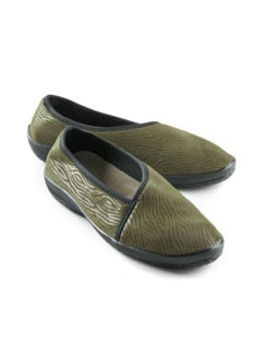 Hallux-Soft-Slipper Fußglück Khaki animal Detail 1
