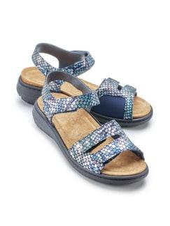 Hallux-Sandale Fantasiemuster Blau gemustert Detail 1