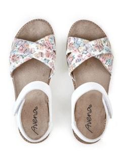 Hallux-Sandale Softness Weiß geblümt Detail 3